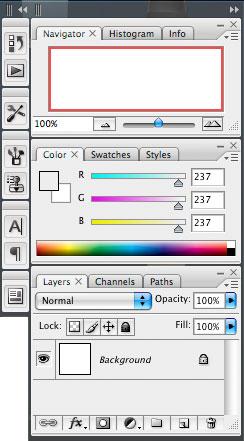 Photoshop CS2 palettinäkymä
