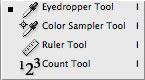 Photoshop CS2: työkalut: Mittaustyökalut / Tools for measurements