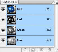 Photoshop CS2: paletit: kanavat / Channels