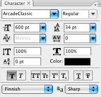 Photoshop CS2: paletit: Kirjasimet / Character