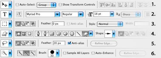 Photoshop cs2 työkalukohtaiset palkit